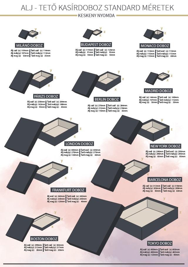 Standard alj-tető díszdoboz méretek