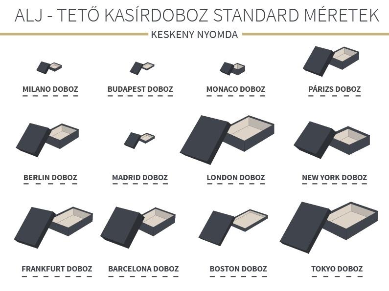 Standard alj-tető díszdobozméretek